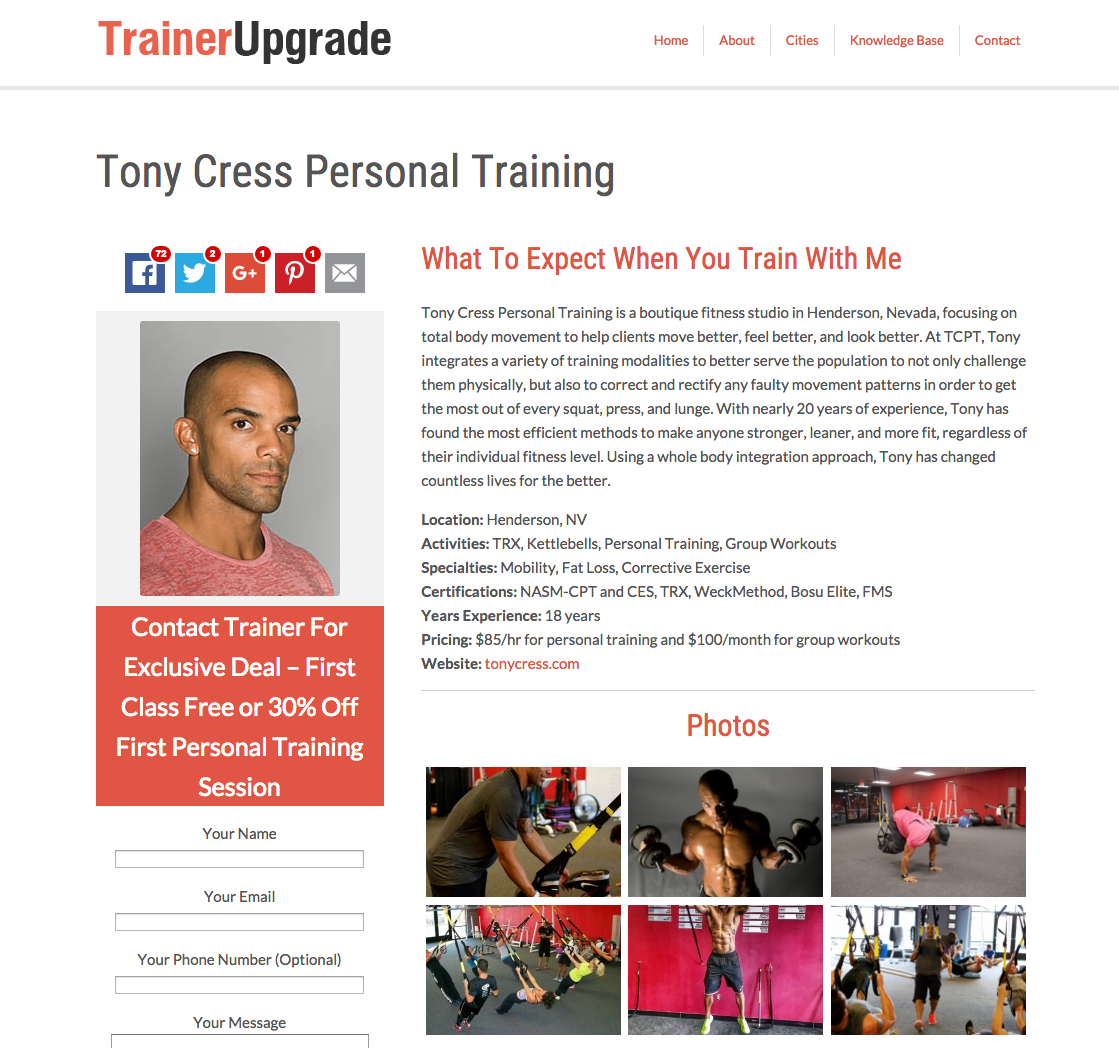 Tony Cress Personal Training Featured On Trainer Upgrade